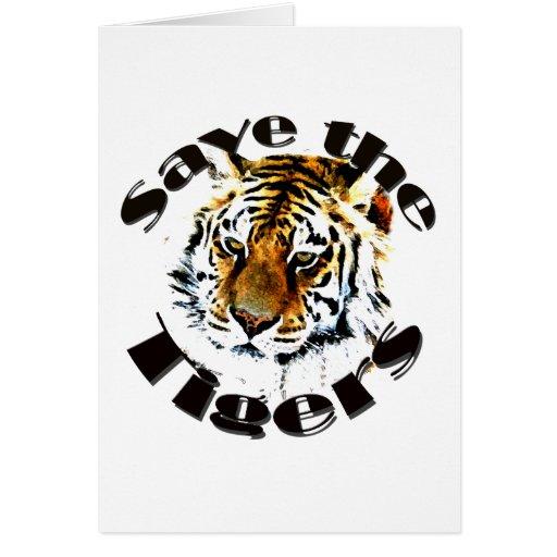 Ahorre los tigres tarjeta de felicitación