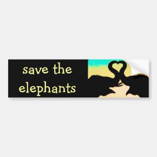 Ahorre los troncos del corazón de los elefantes etiqueta de parachoque