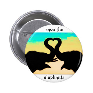 Ahorre los troncos del corazón de los elefantes pin redondo de 2 pulgadas