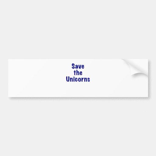 Ahorre los unicornios etiqueta de parachoque