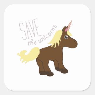 Ahorre los unicornios colcomanias cuadradas