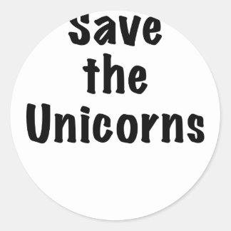 Ahorre los unicornios pegatinas redondas