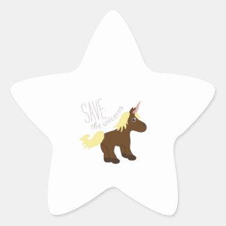 Ahorre los unicornios pegatinas forma de estrellaes