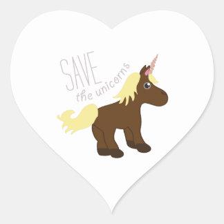 Ahorre los unicornios calcomanías corazones