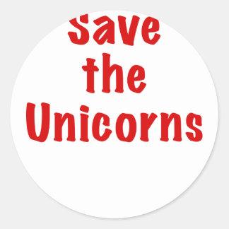 Ahorre los unicornios etiquetas redondas