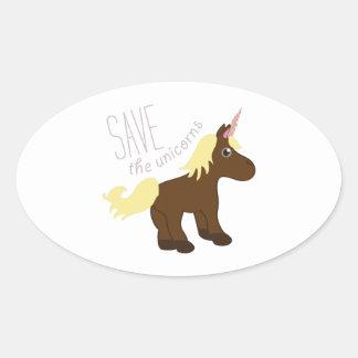 Ahorre los unicornios calcomania de óval