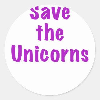 Ahorre los unicornios pegatina redonda