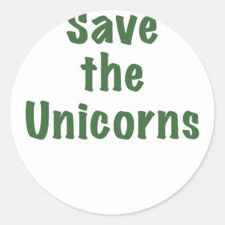 Ahorre los unicornios etiqueta redonda