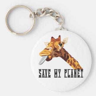 Ahorre mi jirafa del planeta llavero redondo tipo pin