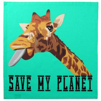 Ahorre mi jirafa del planeta servilleta imprimida