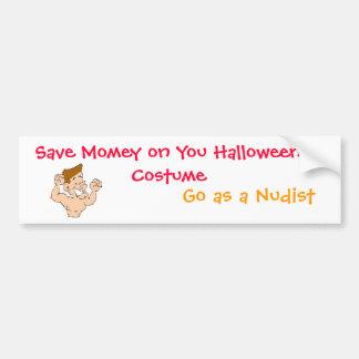 Ahorre Momey en usted traje de Halloween, Sticke d Etiqueta De Parachoque