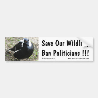 Ahorre nuestra fauna, políticos de la prohibición… pegatina de parachoque