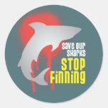 Ahorre nuestra parada Finning de los tiburones Pegatinas Redondas