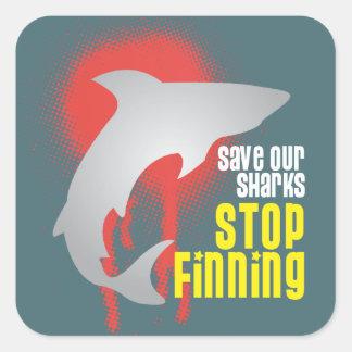 Ahorre nuestra parada Finning de los tiburones Pegatina Cuadrada