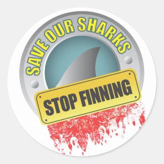 Ahorre nuestra parada Finning de los tiburones Pegatina Redonda