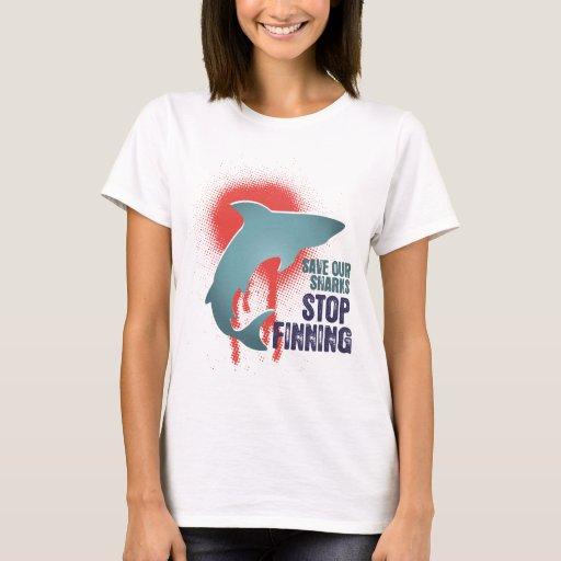 Ahorre nuestra parada Finning de los tiburones Playera