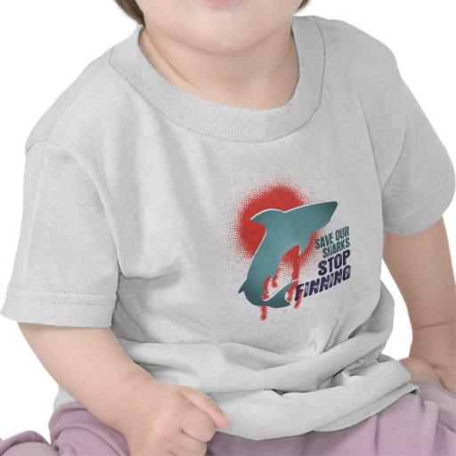 Ahorre nuestra parada Finning de los tiburones Camiseta