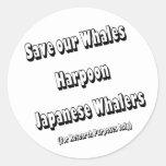 Ahorre nuestras ballenas pegatinas redondas