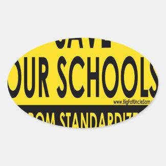 Ahorre nuestras escuelas pegatina ovalada