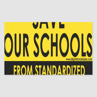 Ahorre nuestras escuelas pegatina rectangular