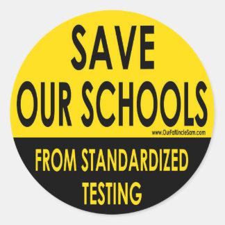 Ahorre nuestras escuelas pegatina redonda