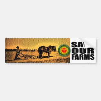 Ahorre nuestras granjas pegatina para auto