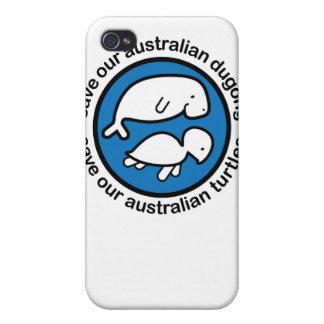 Ahorre nuestro dugong y tortuga iPhone 4 protectores