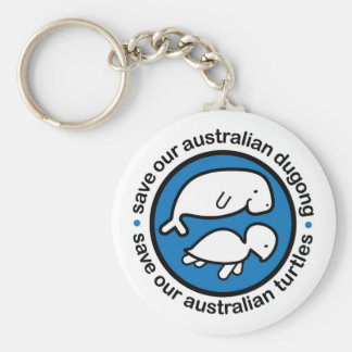 Ahorre nuestro dugong y tortugas llavero redondo tipo pin