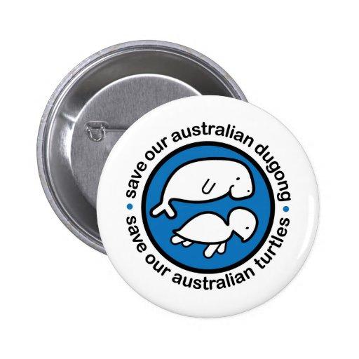 Ahorre nuestro dugong y tortugas pin redondo de 2 pulgadas