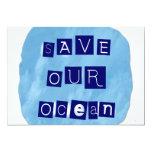 Ahorre nuestro fondo azul acuoso del océano anuncio personalizado