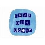 Ahorre nuestro fondo azul acuoso del océano postales