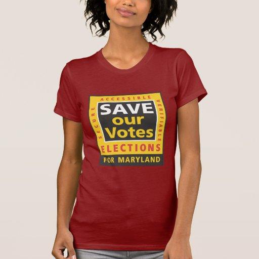 AHORRE nuestro logotipo cuadrado de los votos, Camiseta