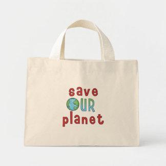 Ahorre nuestro planeta bolsa tela pequeña