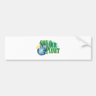 Ahorre nuestro planeta pegatina de parachoque