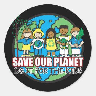 Ahorre nuestro planeta pegatinas redondas