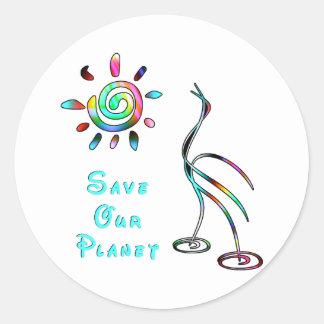 Ahorre nuestro planeta pegatina redonda