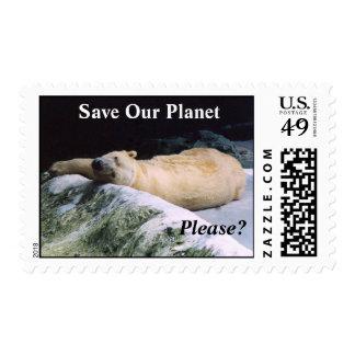 ¿Ahorre nuestro planeta, por favor? Sello del oso