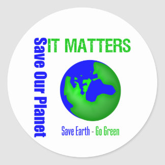 Ahorre nuestro planeta que importa etiqueta redonda