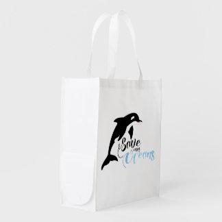 Ahorre nuestros océanos bolsa reutilizable