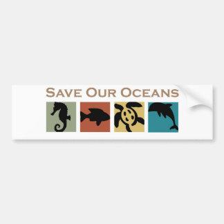 Ahorre nuestros océanos etiqueta de parachoque