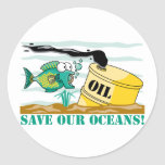 ¡Ahorre nuestros océanos! Etiqueta Redonda