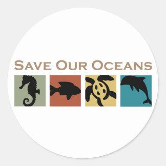 Ahorre nuestros océanos etiqueta redonda