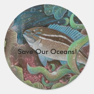 ¡Ahorre nuestros océanos! pegatinas Pegatina Redonda