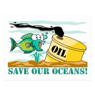 Ahorre nuestros océanos tarjeta postal