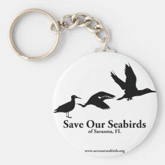 Ahorre nuestros pájaros de mar de Sarasota la Flor Llavero Redondo Tipo Pin