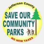 Ahorre nuestros parques de comunidad etiqueta redonda