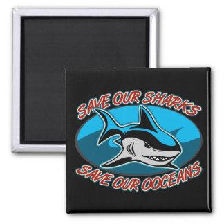 Ahorre nuestros tiburones imán cuadrado