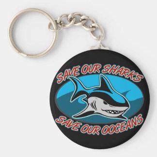 Ahorre nuestros tiburones llavero personalizado