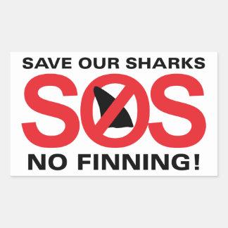 Ahorre nuestros tiburones ningunos pegatinas de pegatina rectangular