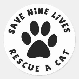 Ahorre nueve vidas rescatan un gato pegatinas redondas